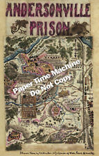 Andersonville Prison CIVIL WAR Confederate Poster / Map