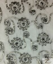 """RIBBON CRYSTAL ORGANZA FABRIC - Charcoal - 50""""/52"""" WIDTH SOLD BY THE YARD"""