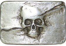 fronhofer Tête de Mort Boucle ceinture argent vieilli, 4 cm, boucle, 18055