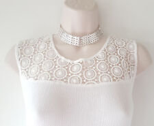 Gorgeous 2cm wide silver tone metal link choker collar necklace  * NEW *