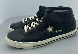 Converse One Star Pro Black Leather Mid Top Shoes UNISEX 125286C Size M 9.5 W 11