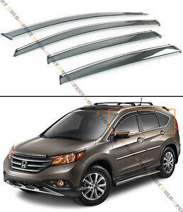 FOR 2012-16 HONDA CRV CR-V CLIP-ON TYPE SMOKE TINTED WINDOW VISOR W/ CHROME TRIM