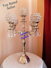 "19"" 5 Arm Crystal Candelabra Wedding Centerpieces Votive Tealight Candle Holder"