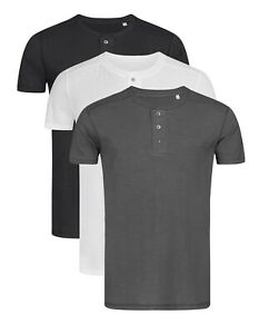 Mens GREY BLACK WHITE Short Sleeve Grandad Henley Buttoned T-Shirt Tshirt