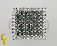 14k White Gold Green & white Diamond Plaque Ring Size 8.25 1.50 ct Gift for Her