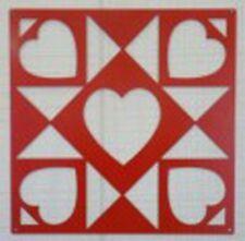 "Heart Star - Barn Quilt - Red Metal 12"" x 12"" Quilt Block Sign"