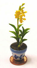 1:12 Scale Tall Yellow Orchid In A Pot Dolls House Miniature Flower Garden 15