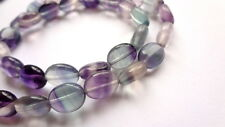 8 x 10mm Natural Fluorite Oval Semi Precious Gemstone Beads - Half Strand