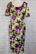 Jacques Vert Purple Green Floral Dress Size UK 14 Lined Summer Wedding Special