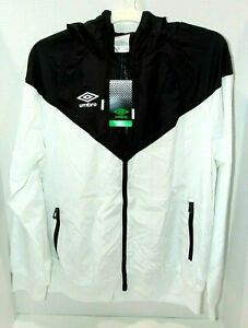 Umbro Hooded Wind breaker Jacket Hoodie Black Colorblock Full Zip Mens MEDIUM
