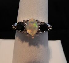 1.31cts Size 8 Ethiopian Opal, Black Spinel & White Topaz Sterling Silver Ring