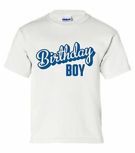 """Youth size """"Birthday Boy"""" T-Shirt (with optional name/number) kids childs party"""