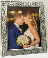 8x10 Pewter Enchanted Love Hearts Silver Jeweled Wedding Photo Picture Frame
