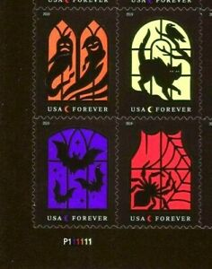 SPOOKY SILHOUETTES GHOSTS CATS SPIDERS BATS US #5420-5423 FOREVER STAMP P# BLOCK