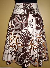Lovely H&M Brown Bold floral print knee length Linen blend skirt -10
