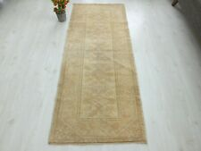 Turkish Runner 3x6ft. Faded Oushak Rug Hand Knotted Antique Old Carpet Wool. diy