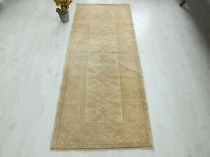 Turkish Runner Rug 2.6x6.4 Faded Oushak Hand Knotted Organic Old Vintage Carpet