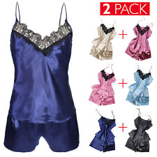 2 Pack Pigiama Donna Baby Doll Sexy Intimo Notte Top+Shorts Merletto Pizzo VEQUE