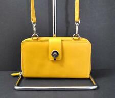 ili World Leather Smart Phone Wallet Crossbody Strap RFID Zip Slot Yellow W19