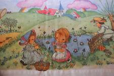 VINTAGE / Old flat sheet of child's bed / ancien drap plat de lit enfant