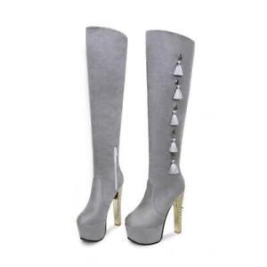 15CM Super High Heel Platform  44-48 Women Over The Knee Thigh High Boots Club L