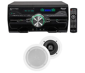 """DV4000 4000w Bluetooth Home Theater DVD Receiver+2) 5.25"""" White Ceiling Speakers"""