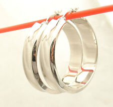 """1 1/8"""" 28mm Anti-Tarnish All Shiny Round Hoop Earrings Real 925 Sterling Silver"""