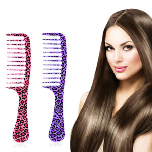 Leopard Hairdressing anti-static handle wide Tooth Hair Comb Detangling