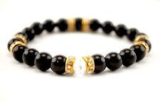Handmade Semi Precious Stone Bracelet Black Agate Stone Beads Valentine's Gift