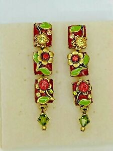 24K Gold Spring Flower 3-part Dangle Earrings Handcrafted w/ Swarovski Crystals