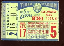 11 17 1963 Nfl Football Ticket Stub Los Angeles Rams at Detroit Lions Vgex
