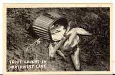 Undated Unused Postcard Real Photo Trout caught in Northwest Lake Washington Wa