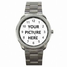 Stainless Steel Mens Watch Custom Personalized YOUR PICTURE PHOTO LOGO