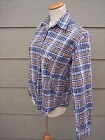 Cruel Girl Womens Button Shirt Sz S 38B Blue Plaid Blouse Top Cotton Long Sleeve