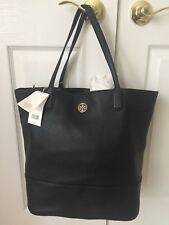 NWT Tory Burch Black Leather Michelle Tote Handbag Large