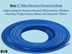 """1/4"""" Blue lldpe Tubing for Reverse Osmosis Systems, Water Filter Units 010"""