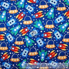 BonEful Fabric FQ Cotton Quilt Blue Red White Green Space Shuttle Ship Star Boy