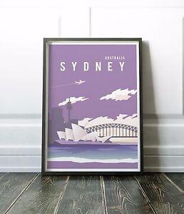 Sydney Print, Modern Australia Wall Art Print in Purple, various sizes available
