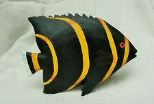 large carved wooden tropical fish colourful hand painted sculpture ornament