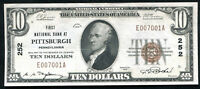 1929 $10 FIRST NATIONAL BANK AT PITTSBURGH, PA NATIONAL CURRENCY CH. #252