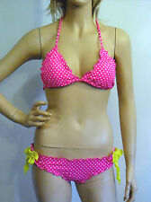 NEW VICTORIA'S SECRET BIKINI PINK POLKA DOT RUCHED BUTT BIKINI TOP M BOTTOM S