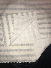 FAB! Vintage Yves Delorme Blue Floral Stripes Pair Boudoir Pillow Shams France