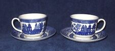 VINTAGE LOT OF 2 BLUE WILLOW SAUCERS & JOHNSON BROS TEA CUPS ENGLAND NICE COND