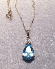 Vintage 14K Blue Topaz and Diamond Pendant with 14K Chain  ~  Gorgeous