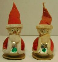 2 Old Matching Antique Vintage 1940s Glass Santa Claus Christmas Tree Ornaments
