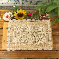 Beige Vintage Hand Crochet Doily Floral Lace Cotton Doilies Table Cover 40x60cm