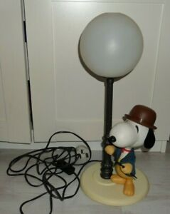 Vintage Peanuts Snoopy in Bowlers Hat Table Lamp Light Nuova Linea Zero Italy 70