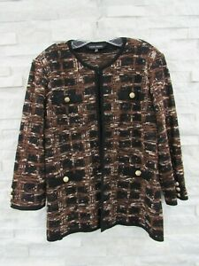 Ming Wang Brown Black Boucle Plaid Tweed Knit Gold Buttons Jacket L BEAUTIFUL!