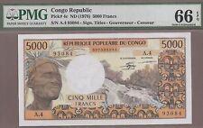 CONGO REPUBLIC: 5000 Francs Banknote,(UNC PMG66),P-4c, SCARCE, 1978,No Reserve!