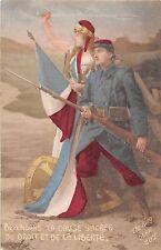 POSTCARD   MILITARY  WWI  PATRIOTIC  Defending  La  Cause  Sacree......